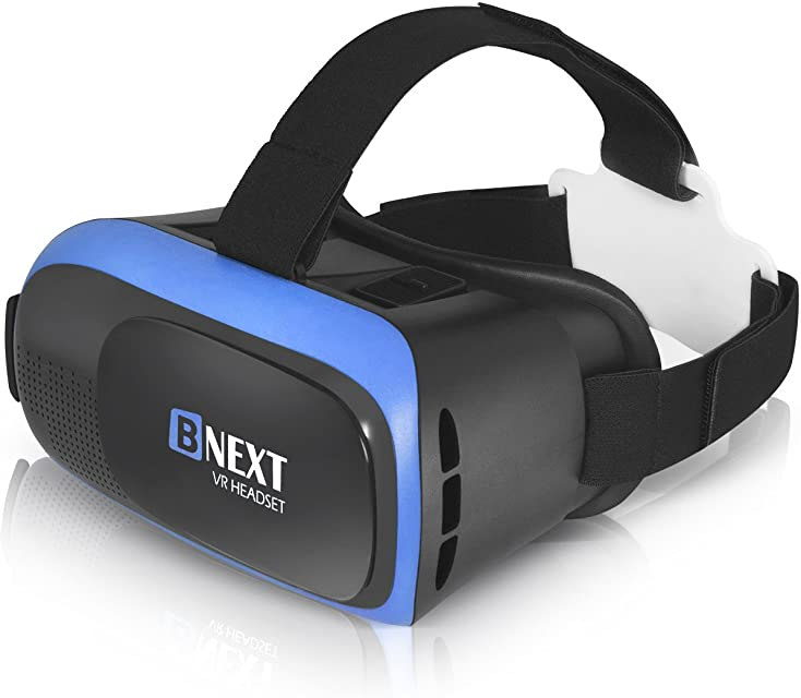 Gafas VR Compatible con iPhone y Android Gafas Realidad Virtual para Movil - Disfruta de los Mejores Juegos y Videos RV 360 y 3D de Máxima Calidad y con la Mayor Comodidad (Blue)