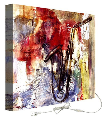 decoratief – Schilderij met achtergrondverlichting Abstracte saxofoon 50.00x50.00x5.00 cm veelkleurig