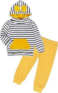 Edjude Ensembles Bébé Garçon Sweatshirt Pull Pantalon et Hauts T-Shirt à Manches Longues Pull-Over Sweat à Capuche Automne...