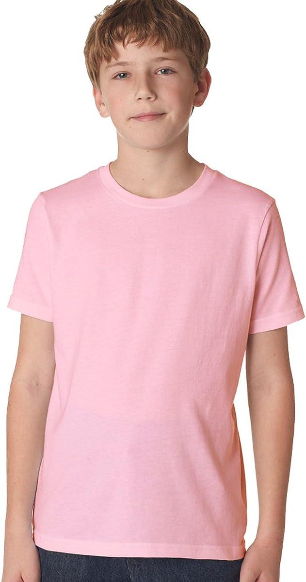 Next Level Apparel Big Boys' Rib Jersey Crew T-Shirt, Light Pink