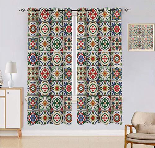 Cortinas opacas marroquíes, patrón azulejo colorido portugués, arreglos florales abstractos, hojas y tratamientos para ventanas, 2 paneles, cada panel 60 cm de ancho x 150 cm de largo, multicolor