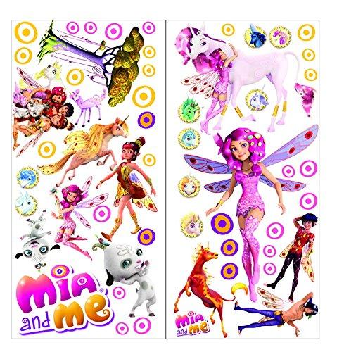 Mia and Me Wandtattoos für Schlafzimmer Jungen und Mädchen 70cmX35cm 2 Blatt vinyl