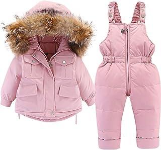 Dziecięca kurtka puchowa i spodnie puchowe, 2 sztuki, dla dziewczynek i chłopców, zimowy płaszcz z kapturem, dziecięcy kom...