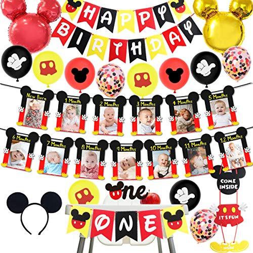 Decoraciones para el Primer cumpleaños con temática de Mickey, niño Mickey NB a 12 Meses Pancarta para Fotos decoración para Tartas Pancarta para Trona Sombreros de cumpleaños para niños