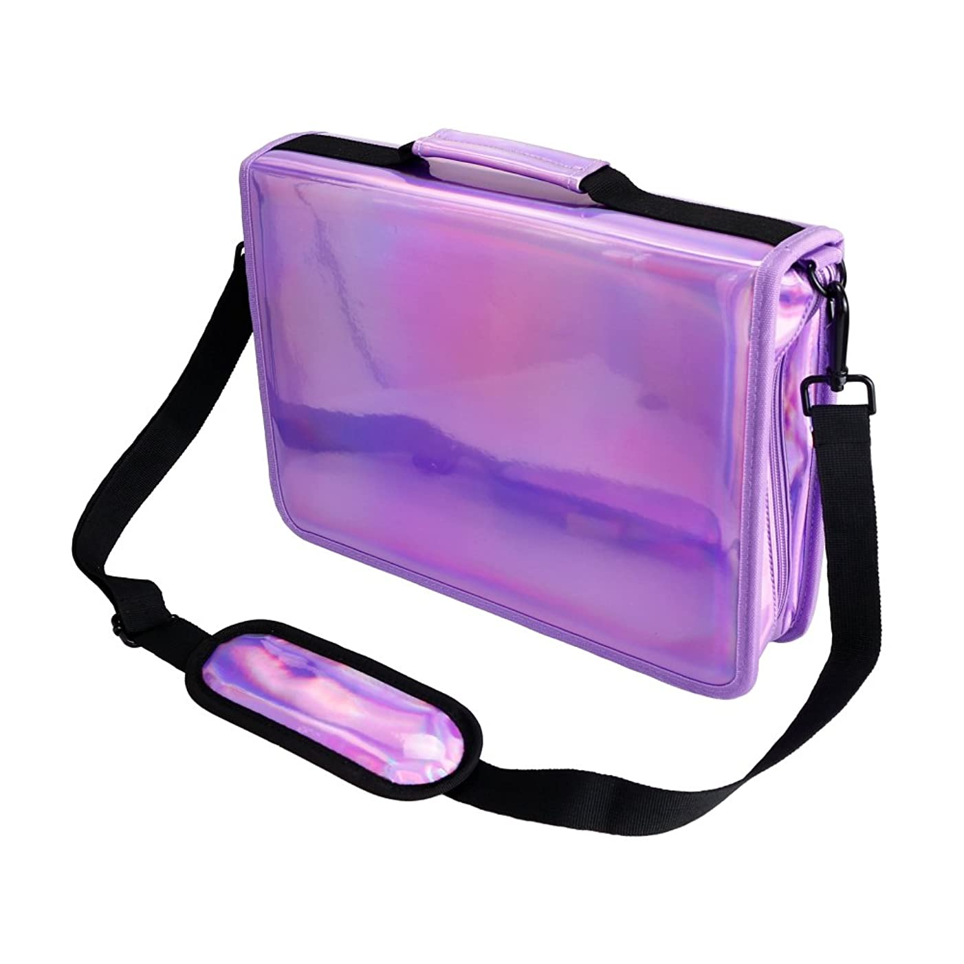 YOUSHARES 160 Slots Holographic Pencil Case - Laser PU Plating Color Large Capacity Zipper Pen Bag for Prismacolor Watercolor Pencils, Crayola Colored Pencils, Marco Pens & Cosmetic Brush (Purple)