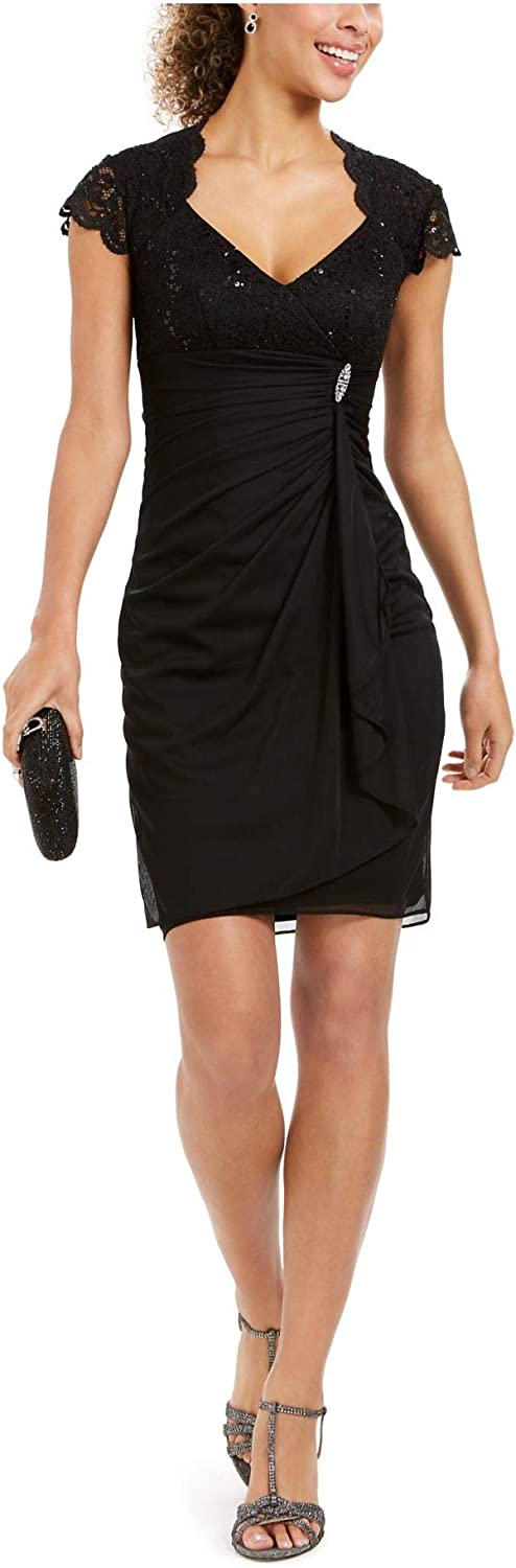 Betsy & Adam Womens Black Embellished Sequined Lace Zippered Cap Sleeve Queen Anne Neckline Short Sheath Party Dress Size
