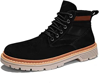 Xujw-shoes store, 2019 Mens New Lace-up Flats Mens Casual Ankle Boots for Men Work Boots Lace Up Canvas & Durable Comfortable Leather Patchwork Rubber Sole Round Toe Stitching Anti-Skid Soft