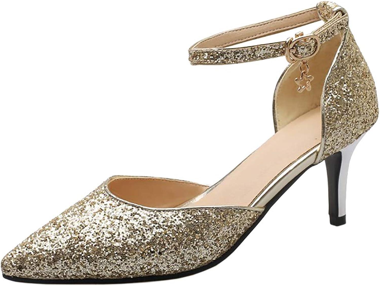 CularAcci Women Fashion Thin Heel Sandals Ankle Strap