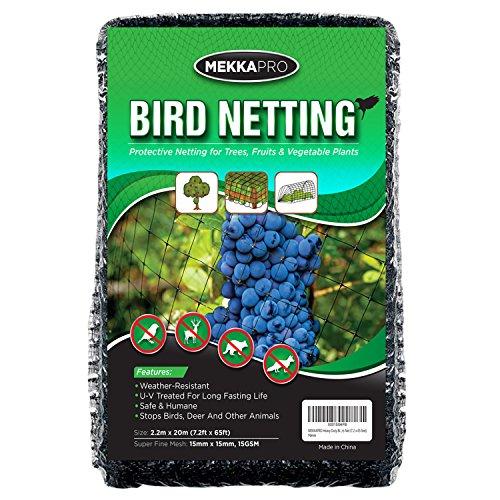 MEKKAPRO Heavy Duty Bird Netting, Garden Nets for Fruit, Vegetable, Plant Trees | Deer Netting and Fencing | Anti-Bird and Deer Net (7.2 x 65 feet)