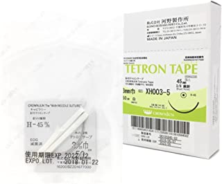 CROWNJUN 子宮頚部結紮用 針付 テトロンテープ 白 5本入 鈍針 外科手術 婦人科手術用 シロッカー マクドナルド (シロッカー用)