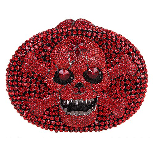 Bonjanvye Crystal Rhinestone Bags Purses with Skulls Clutch Evening Bag for Halloween Party Red