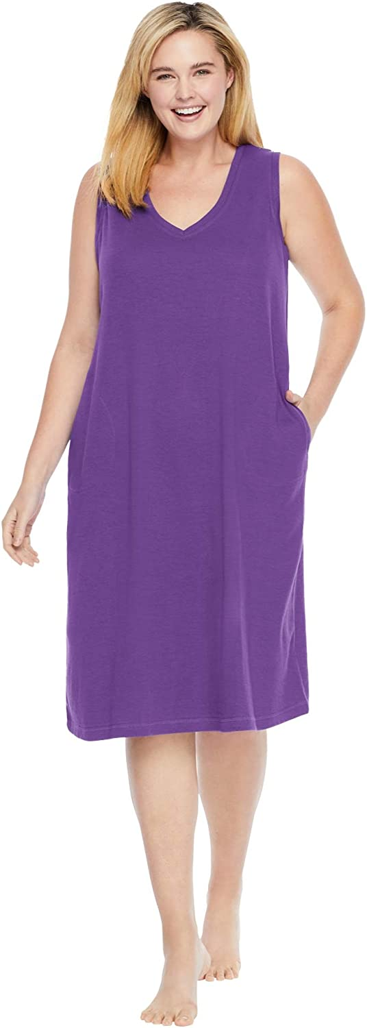 Dreams & Co. Women's Plus Size Short Knit Lounger House Dress or Nightgown