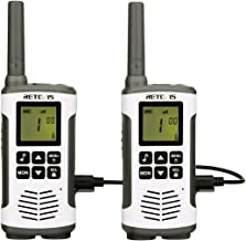 Retevis RT45 Walkie Talkie Recargable PMR 446 sin Licencia VOX Two Way Radio Pantalla LCD Retroiluminación 10 Tonos de Llamada Linterna LED con Baterías (Blanco,1 par)