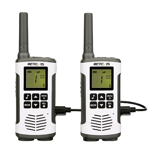 Retevis RT45 Walkie Talkies Recargables PMR 446 sin Licencia VOX Escanear Pantalla LCD con Retroiluminación 10