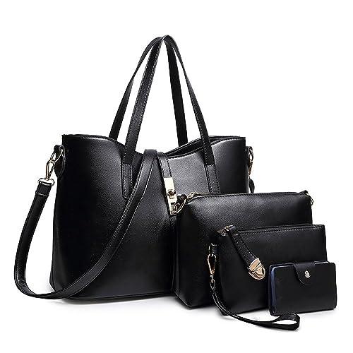 SIFINI Women Fashion PU Leather Handbag+Shoulder Bag+Purse+Card Holder 4pcs  Set fda77ca47edb3