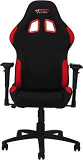 GT Omega PRO Racing Fabric Gaming Chair with Lumbar Support - Breathable & Ergonomic Office Chair with 4D Adjustable Armrest & Recliner - Esport Seat for Ultimate Gaming Experience - Black Next Red