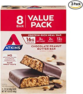 Atkins Protein-Rich Meal Bar, Chocolate Peanut Butter, 2.12 Ounce (Pack of 3)