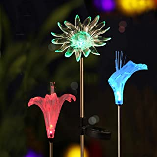 Solar Garden Decoration Lights - Voona 3-Pack Solar Color Changing LED Stake Lights Clear Fiber Lily, Fiber Calla Lily, Daisy Mixed for Outdoor Pathway Party Holiday Christmas