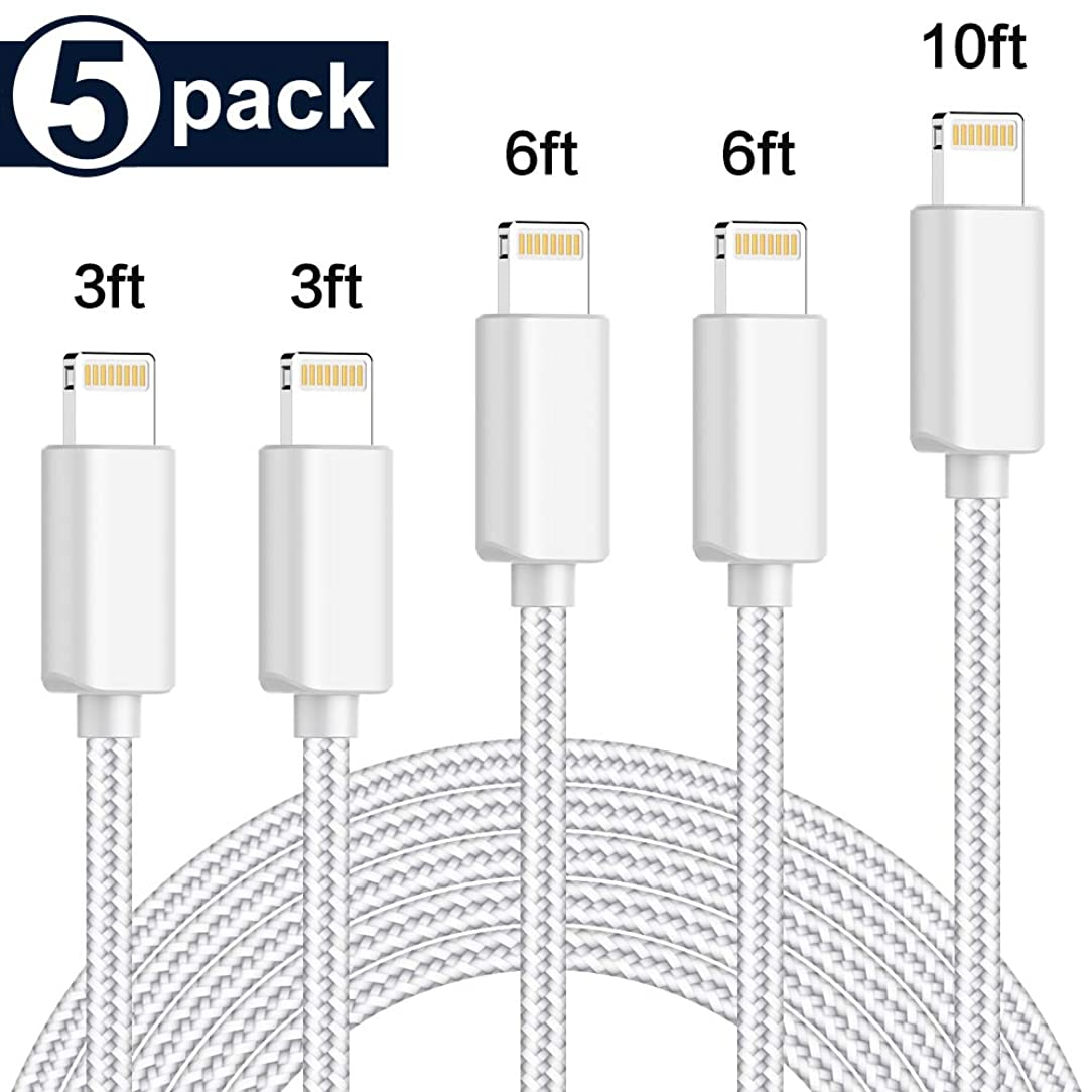 TNSO MFi Certified iPhone Charger Lightning Cable[3/3/6/6/10FT] Extra Long Nylon Braided USB Charge & Syncs Cable Compatible iPhone Xs/Max/XR/X/8/8Plus/7/7Plus/6S/6S Plus Light Blue