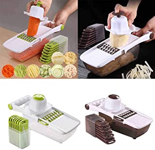 Matoen Vegetable Slicer Multi-Function Food Fruit Cutter Easy Clean Store with Blades Peeler Manual Grater Kitchen Tool (Green)