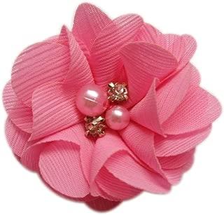 XiXiboutique 20 Chiffon Flower w/Rhinestone Pearl Silk Flower Fabric Flower Hair Flower for Heandbad Craft 2