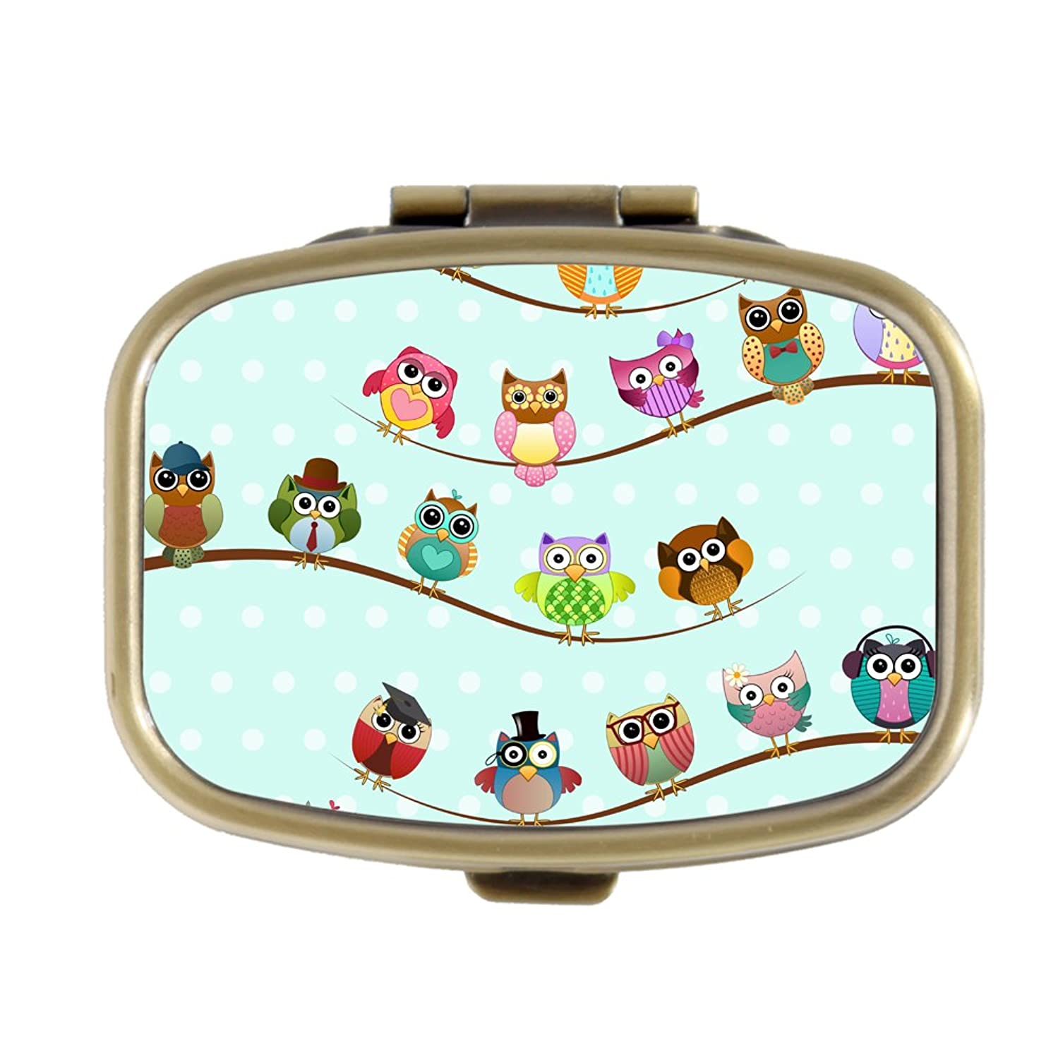 Cute Owls On Branches Custom Fashion Bronze Tone Rectangular Pill Box Medicine Tablet Holder Wallet Organizer Case for Pocket or Purse