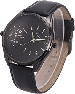 Wrist Watch Mens Dual Zone Double Movement Japanese Quartz SIBOSUN Waterproof Fashion Leather Strap