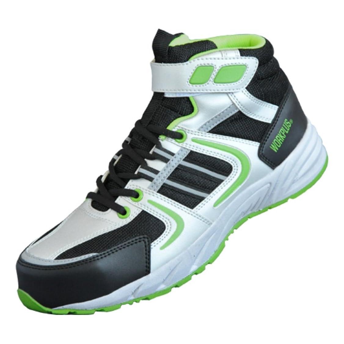 [ミドリ安全] 軽量 樹脂先芯 スニーカー ひも靴 ワークプラス MJ377 シルバーグレー/グリーン