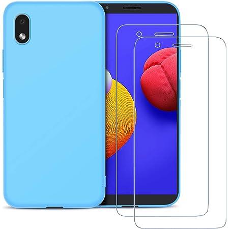 Coque pour Samsung Galaxy A01 Core Etui Silicone Souple TPU, [Pack de 2] Protection d'écran en Verre Trempé, E-Lush Housse Ultra Fine Soft Gel Case ...