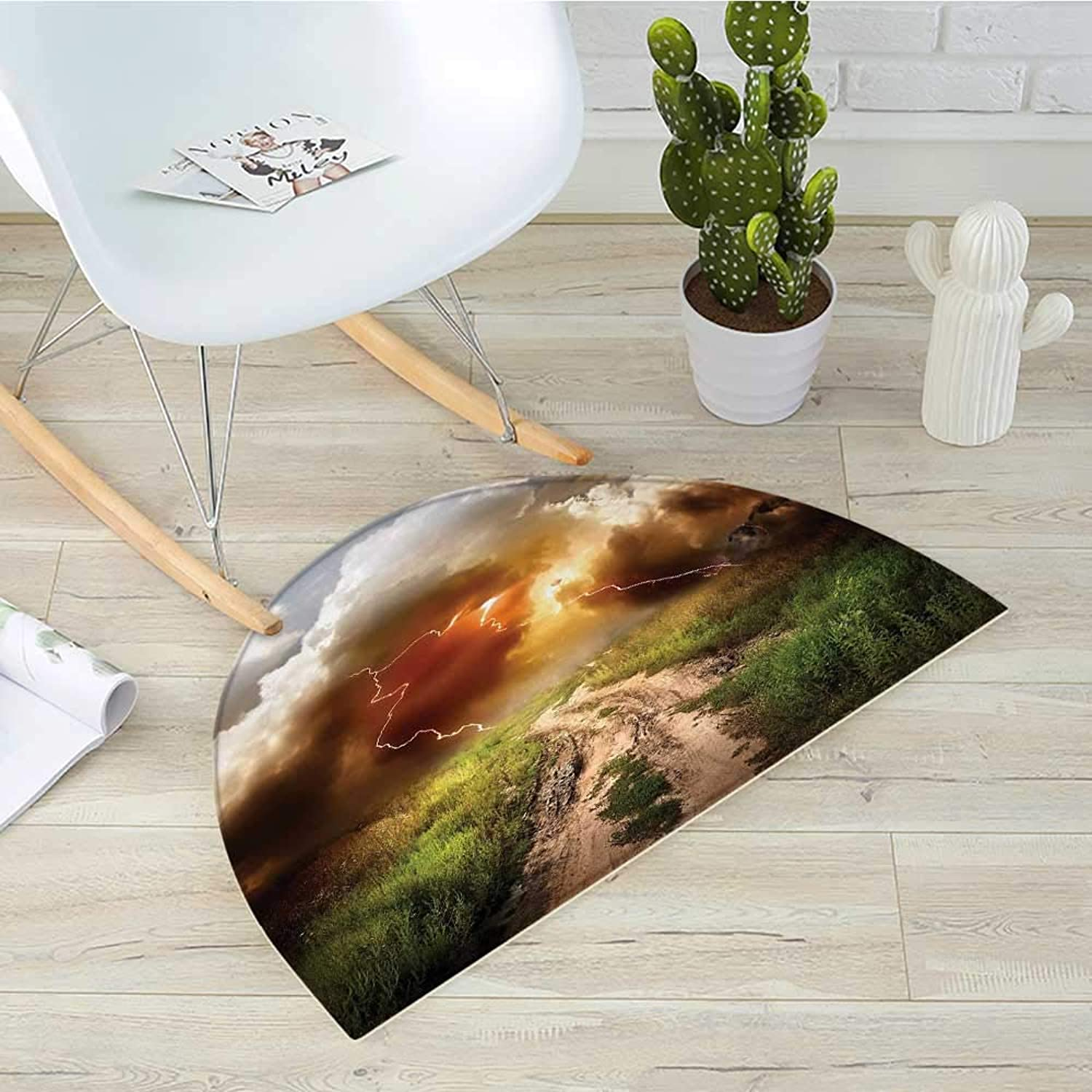 Nature Semicircle Doormat Dazzling Big Rain Cloud Over Earth Path Road Countryside Field Climate Energy Image Halfmoon doormats H 31.5  xD 47.2  Multicolor