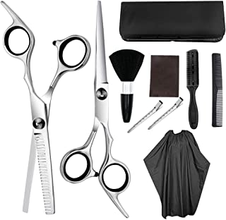 Professional Hair Cutting Scissors, 10Pcs Barber Thinning Scissors Hairdressing Shears Stainless Steel Hair Cutting Shears...