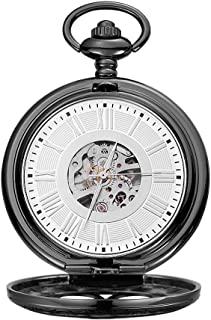 Lwieui Reloj de Bolsillo Reloj de Bolsillo mecánico con Cubierta Romana Tallado Romano Maquinaria clásica Hueca (Color : B...