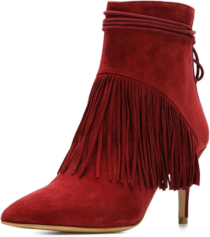 NJ Western kvinnor Tassels Ankle stövlar Closed Closed Closed Toe Mid klackar Dress Booslipss with Lace up  rabatt på nätet