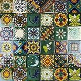Cerames Verde - Piastrelle Messicane Talavera | 30 piezzi 10,5x10,5 cm | Mattonelle decorate | Specchio da parete cucina, bagno, WC | Originale, invece di adesivi pvc