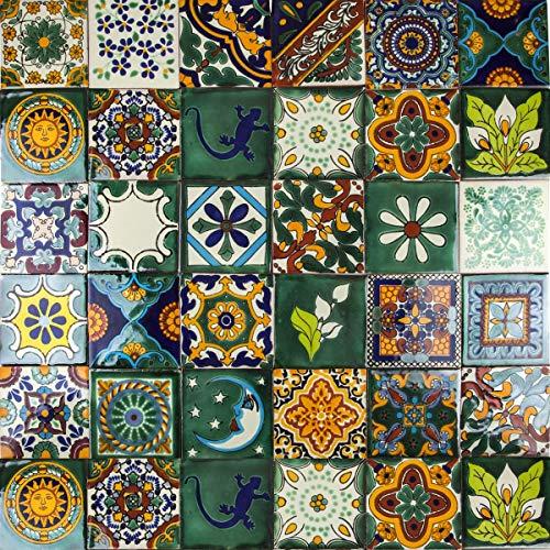 Cerames - Verde - Azulejos Mexicanos decorados| 10x10cm, 30 piezas | Azulejos artesanales de ceramica Talavera, hecho y pintado a mano, para baño y cocina