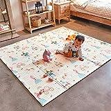 ベビープレイマット ゲームパッド 折り畳み式 (XL) 200*180*1.5cm 持ち運びが容易 子供のゲームパッド 防水 防音 新生児 クッションマット 滑り止め加工 安全無毒 形状記憶 両面使用 (収納袋付き)