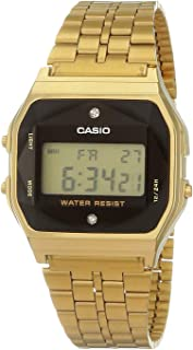 Casio Men's Digital Dial Stainless Steel Band Watch Encrusted with Diamonds - Gold, A159WGED-1DF