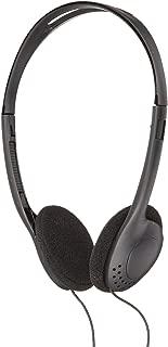 ProHT Lightweight Basic Headphones (87010) with Volume Control & Ear Cushion, Durable Plastic Stereo Headphones, 3.5mm Miniature Jack, Black