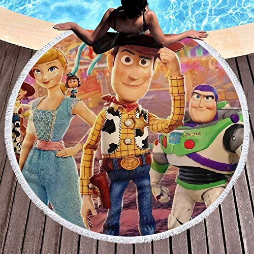 Toy-Story - Toalla de playa redonda de microfibra grande circular para la playa, pícnic, esterilla de yoga con flecos para mujer
