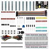 Kit básico de inicio de componentes electrónicos con resistencia de cable de placa de prueba, condensador, LED, potenciómetro para Arduino