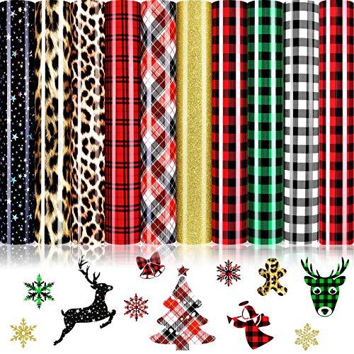 10 Sheets Christmas Heat Transfer Vinyl Christmas Buffalo Plaid Iron-on Vinyl Leopard Star Pattern HTV Glitter Heat Transfer Vinyl PU Classic Plaid Vinyl Sheet for T-Shirts Fabric Craft, 12 x 10 Inch