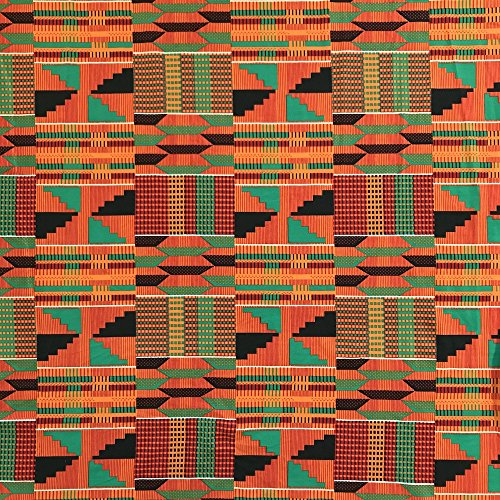 "DTY African Print Fabric Kente (3-2) Stretch Brushed Jersey Knit Apparel 58/60"" Wide Sold BTY"