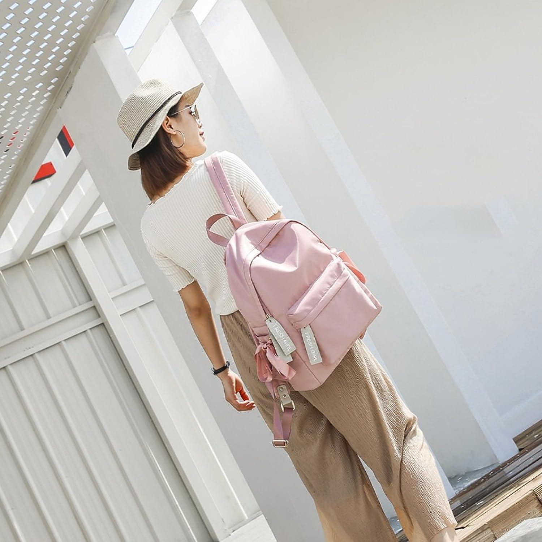 CQ Nylon Bag Han Edition Backpack Girl Leisure Nylon Satchel Female (color   Pink, Size   30  12  40cm)