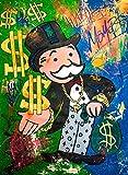 ZHJJD Dinero Imagen Graffiti Obra de Arte Pintura en Lienzo Impresiones Hombre Rico Calle Arte de la Pared Pintura Imágenes Decoración Moderna de la Sala de Estar 60x80cm Sin Marco