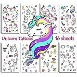 Unicorn Temporary Tattoos for Kids Birthday Party, Waterproof Unicorn Tattoo Stencil Unicorn Party Supplies 16 Sheets, 288 Tattoos