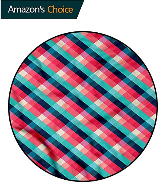 RUGSMAT Geometric Round Rug Diagonal Rhombuses Design Non Slip Fabric Round Rugs For Floor Mat Carpet Diameter 24