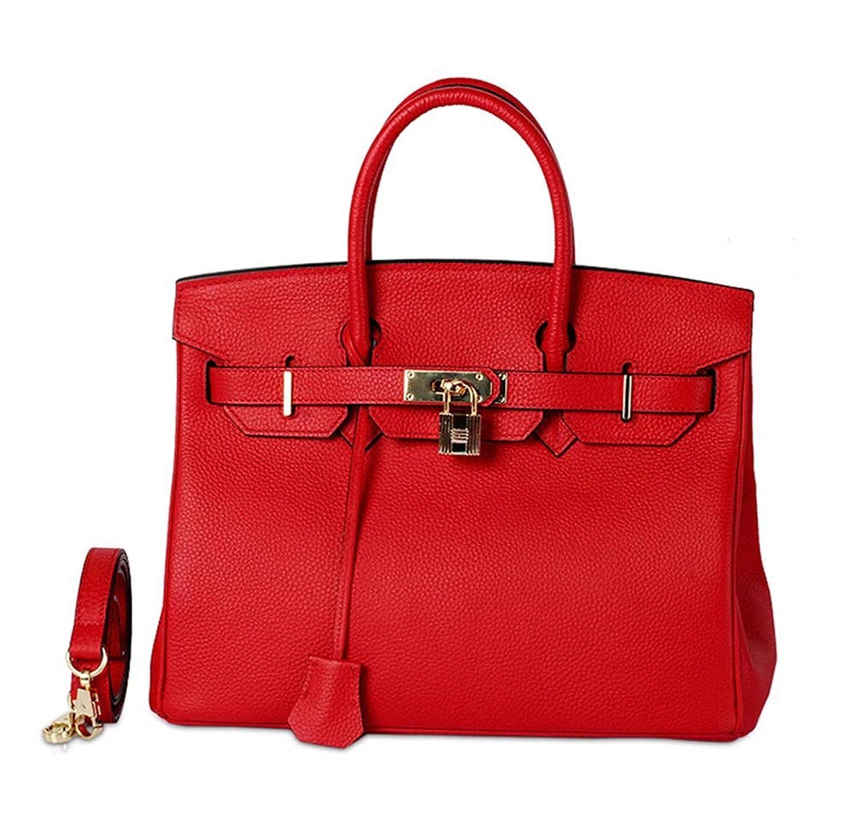 ライチパターンエンボス牛革レディースハンドバッグファッションクラシック本革ハンドバッグ、メッセンジャーバッグ、赤