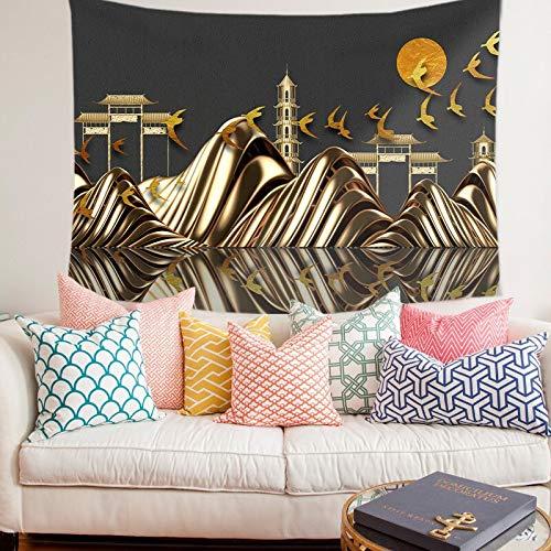 WERT Paisaje Natural Tapiz Colgante de Pared Impresión Exquisito Arte Manta Pintura de Fondo para Sala de Estar Dormitorio Decoración para el hogar A11 150x130cm