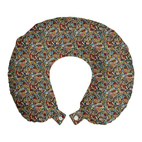ABAKUHAUS Hipster Cojín de Viaje para Soporte de Cuello, Los Productos de Cine de Palomitas de maíz, de Espuma con Memoria Respirable y Cómoda, 30 cm x 30 cm, Multicolor