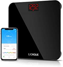 Liorque Digital Body Weight Scale, High Precision Wireless Scale with Smartphone App, Smart Step-on Bathroom Weight and BMI Scale, Multiple Users, Sturdy Tempered Glass, 400 lb/180 kg (Black)
